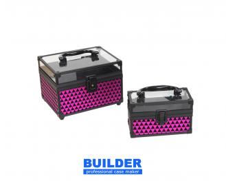 Fuchsia & Black Triangle Cosmetic Case